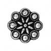 Button Czech Rosette - Antique Silver