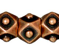 5mm Faceted Cubes - Ant. Copper