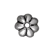 5mm Petal Bead Cap - Antique Silver