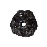 7mm Jasmine Bead Cap - Black