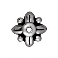 8mm Leaf Bead Cap - Antique Silver