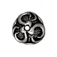 8mm Lily Bead Cap - Antique Silver