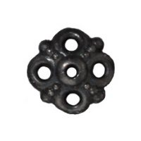 9mm Clover Bead Cap - Black