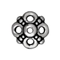 9mm Clover Bead Cap - Antique Silver