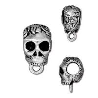 Bail - Skull - Ant. Silver Plated