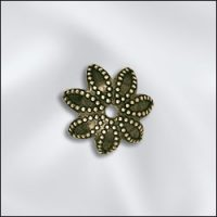 Bead Cap - 9mm - Ant. Brass Leaf