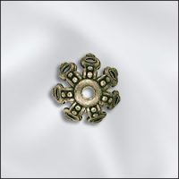 Bead Cap - 9mm - Ant. Brass Fancy