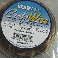 Craft - Wire - 1/2 Round -21 Gage - Bronze
