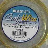 Craft - Wire - 1/2 Round -21 Gage - Gold
