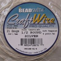 Craft - Wire - 1/2 Round -21 Gage - Silver Color