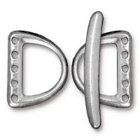 D Ring Links & Clasp Toggle Set  (5 hole) - Rhodium
