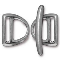 D Ring Slotted Clasp Toggle Set - Ant. Pewter