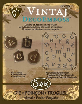 Deco Emboss Die - Lowercase Typewriter  by Sizzix