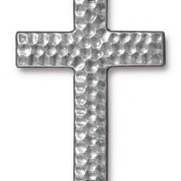 Drilled Hammertone Cross - Ant. Pewter