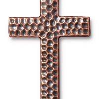 Drilled Hammertone Cross - Ant. Copper