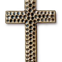 Drilled Hammertone Cross - Brass Ox