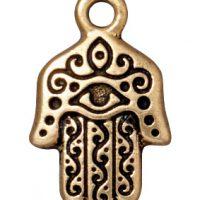 Hamsa Hand Charm - Brass Ox