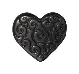 Heart Scroll Bead - Black