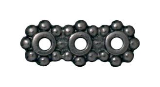 Heishi 3 Hole Bars - Black