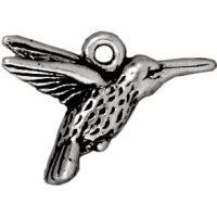 Hummingbird Charm - Ant. Silver