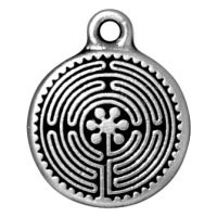 Labyrinth Charm - Ant. Silver