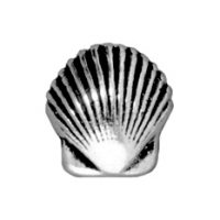 Small Shell Bead - Antique Silver