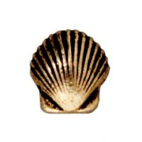 Small Shell Bead - Antique Gold