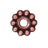 Spacers - 10mm Beaded Large Hole - Ant. Copper