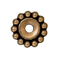 Spacers - 12mm Beaded Large Hole - Brass Ox