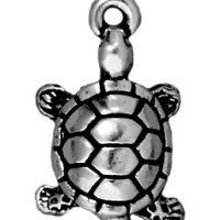 Turtle Charm - Ant. Silver