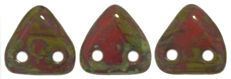 Two-Hole Triangle - Opaque Red Picasso