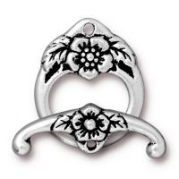 Floral Toggle - Antique Silver
