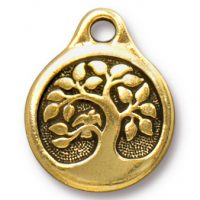 Bird in a Tree Drop - Antique Gold