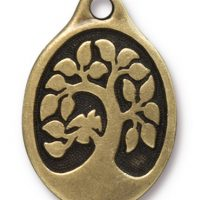 Bird in a Tree Pendant - Brass Ox
