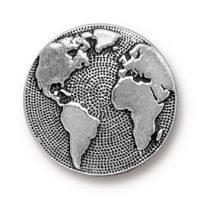 Button Earth - Antique Silver