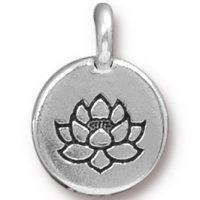 Lotus Charm - Antique Silver
