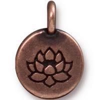 Lotus Charm - Antique Copper