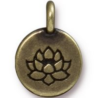 Lotus Charm - Brass Ox